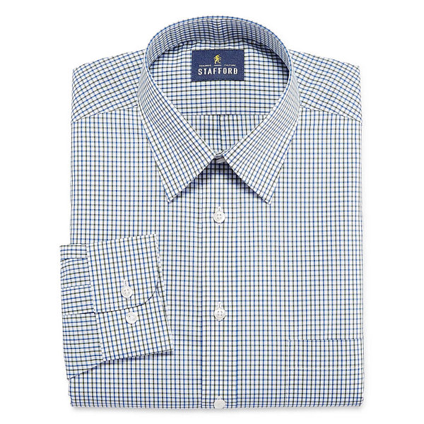 Stafford Stafford Travel Performance Super Shirt Long Sleeve Woven Grid Dress Shirt
