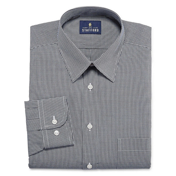 Stafford Stafford Travel Performance Super- Big and Tall Long-Sleeve Woven Gingham Dress Shirt