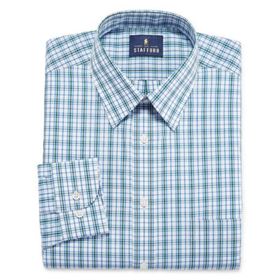 Stafford Stafford Travel Performance Super Shirt - Big & Tall Long Sleeve Woven Plaid Dress Shirt