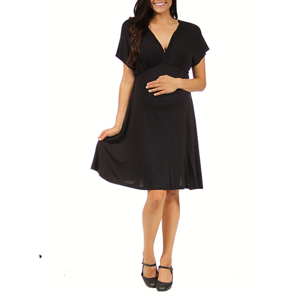 24/7 Comfort Apparel Empire Waist Dress-Maternity