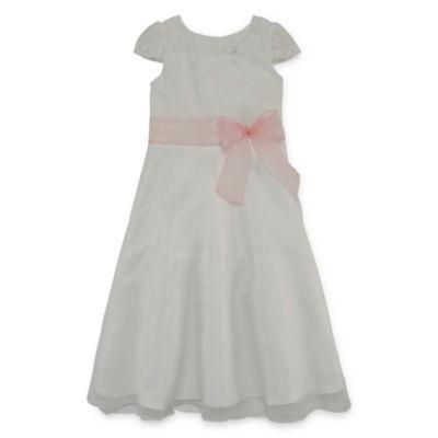 Lavender By Us Angels Flower Girl Dresses Short Sleeve Party Dress