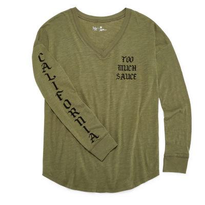 "Flirtitude Long Sleeve ""Too Much Sauce/ California"" Graphic T-Shirt- Juniors"