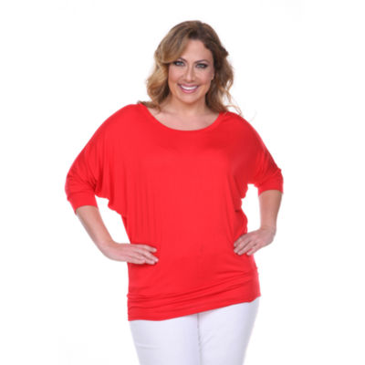 White Mark Bat Sleeve Tunic Top Plus