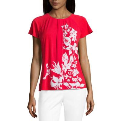 Liz Claiborne Short Sleeve Pleat Neck Floral Knit Blouse