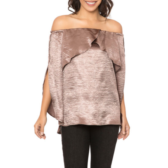 T.D.C Off Shoulder Ruffle Split Sleeve Top