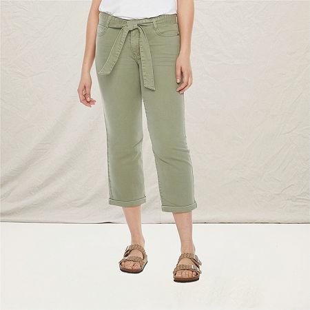 a.n.a Womens Cuffed Stretch Cropped Jean, 6 , Green