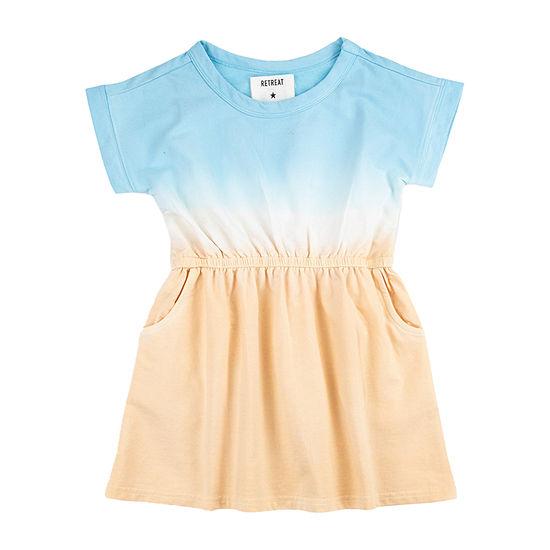 Retreat Los Angeles Tie Dye Little & Big Girls Short Sleeve A-Line Dress