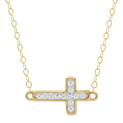Teeny Tiny® 14K Yellow Gold Pavé Crystal Petite Cross Pendant Necklace