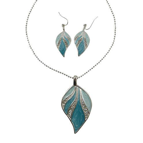 Blue & Green Enamel Leaf Pendant Necklace & Earring Set