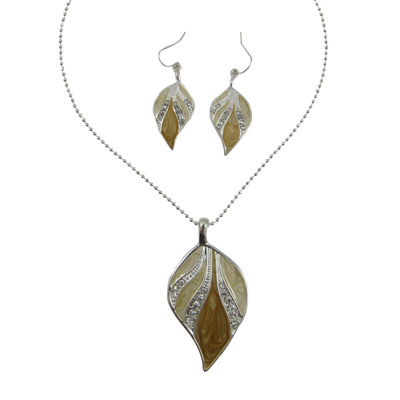 Brown Enamel Leaf Pendant Necklace & Earrings Set