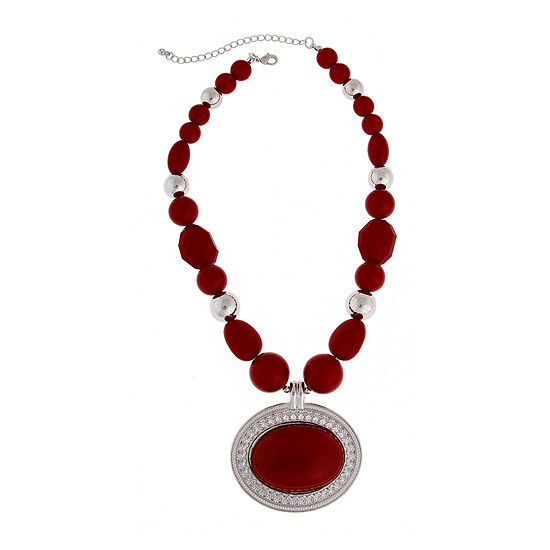 Mixit™ Red Nugget Silver-Tone Pendant Necklace