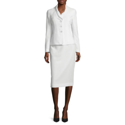 Le Suit® Long-Sleeve 3-Button Skirt Suit