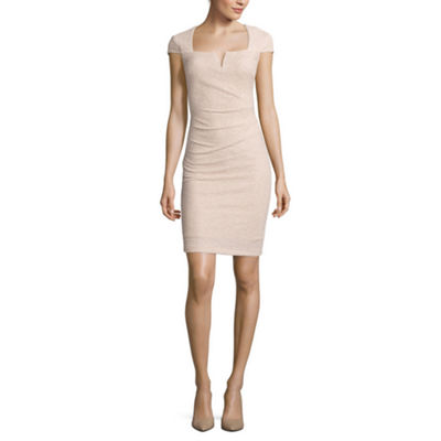 Blu Sage Cap-Sleeve Sparkle Sheath Dress