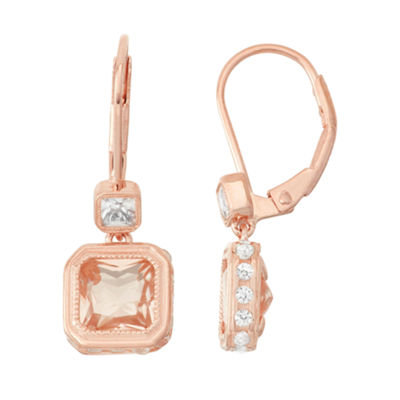 Simulated Morganite & Lab-Created White Sapphire 14K Rose Gold Over Silver Earrings