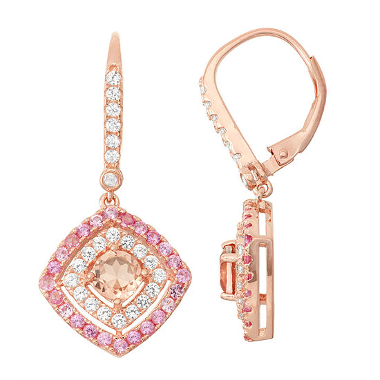 Simulated Morganite, Lab Created Pink Sapphire & Diamond Accent   14K Rose Gold Over Silver Earring