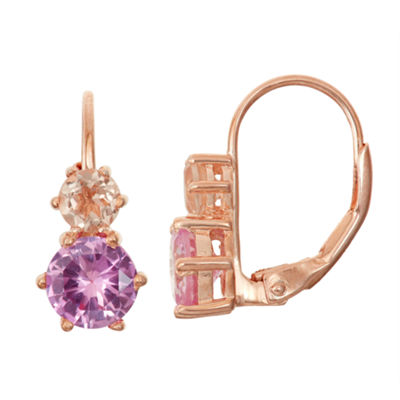Simulated Morganite & Lab Created Pink Sapphire 14K Rose Gold Over Silver Earrings