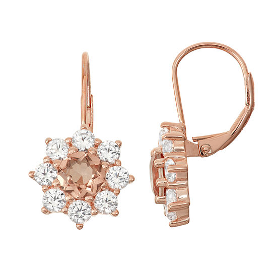 Simulated Morganite Lab Created White Sapphire 14k Rose Gold Over Silver Earrings