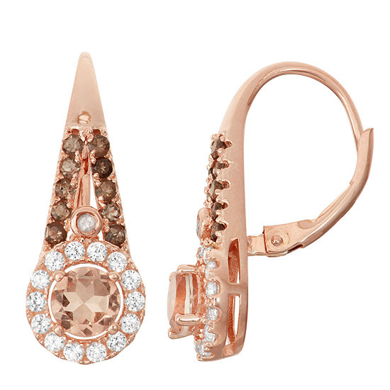 Simulated Morganite, Genuine Smoky Quartz, & Diamond Accent 14K Rose Gold Over Silver Earrings