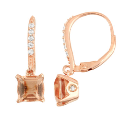 Simulated Morganite & Diamond Accent 14K Rose Gold Over Silver Earrings
