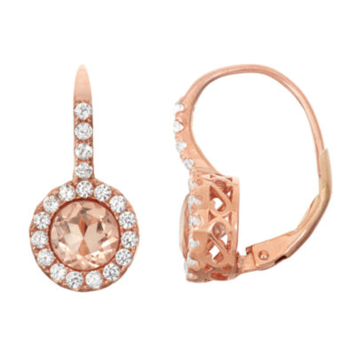 Simulated Morganite & Lab Created White Sapphire 14K Rose Gold Over Silver Earrings
