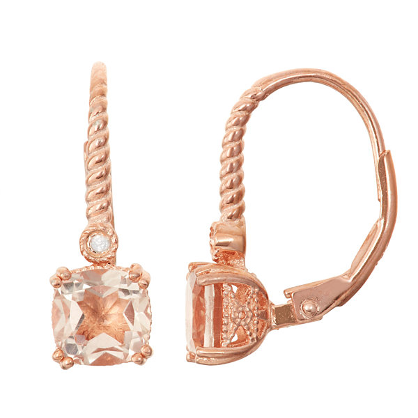 Simulated Morganite & Diamond Accent 14K Rose Gold Over Sterling Silver Earrings