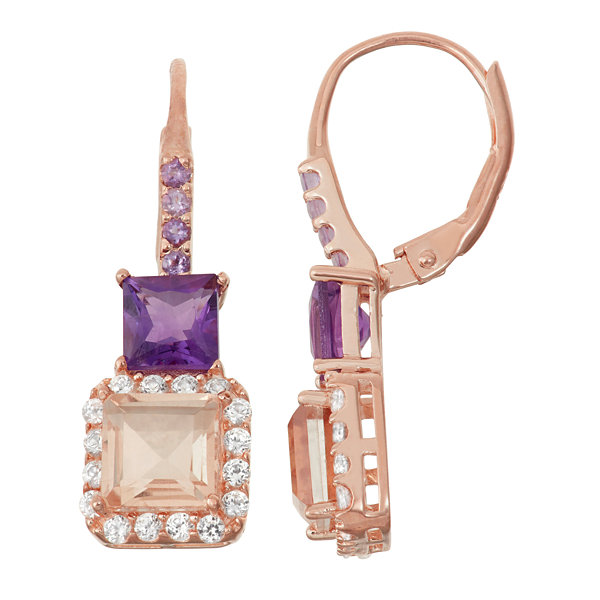 Simulated Morganite & Genuine Amethyst 14K Rose Gold Over Silver  Earrings