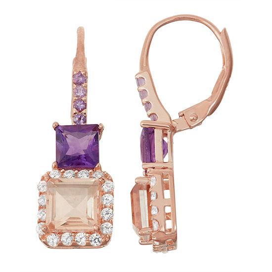 Simulated Morganite & Genuine Amethyst 14K Rose Gold Over Silver  Earrings