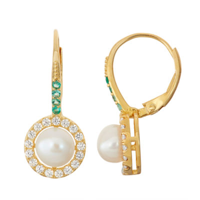 White Cultured Freshwater Pearl & Lab Created Emerald 14K Gold Over Silver Earrings