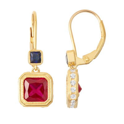 Lab-Created Ruby & Sapphire 14K Gold Over Silver Leverback Earrings