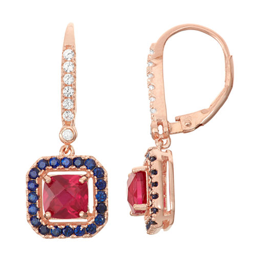 Lab-Created Ruby & Sapphire Diamond Accent 14K Gold Over Silver Leverback Earrings