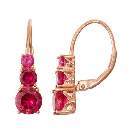 Lab Created Ruby 14k Rose Gold Over Silver Leverback Earrings