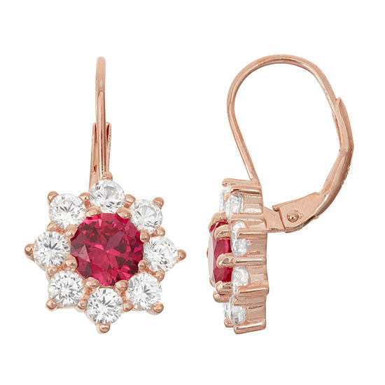 Lab Created Ruby White Shire 14k Rose Gold Over Silver Leverback Earrings