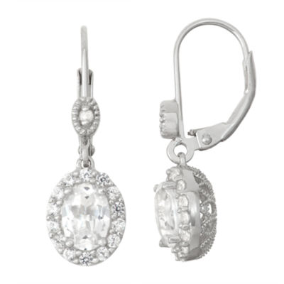 Lab-Created White Sapphire Sterling Silver & Diamond Accent Leverback Earrings