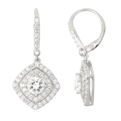 Lab-Created White Sapphire Diamond Accent Sterling Silver Leverback Earrings