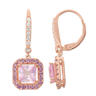 Lab-Created Pink Sapphire & Amethyst Diamond Accent 14K Rose Gold Over Silver Leverback Earrings