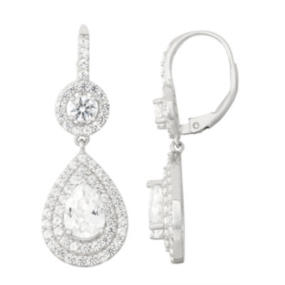 Lab-Created White Sapphire Sterling Silver Leverback Earrings