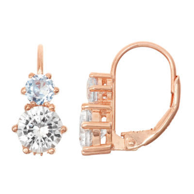 Lab-Created White Sapphire & Aquamarine 14K Rose Gold Over Silverleverback Earrings