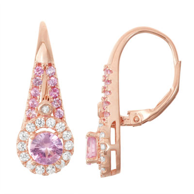 Lab-Created Pink Sapphire & White Sapphire Diamond Accent 14K Rose Gold Over Silver Leverback Earrings