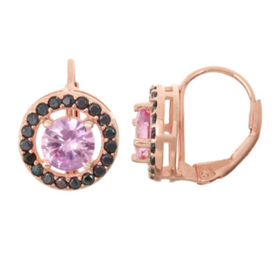 Lab-Created Pink Sapphire & Genuine Black Spinel 14K Rose Gold Over Silver Leverback Earrings