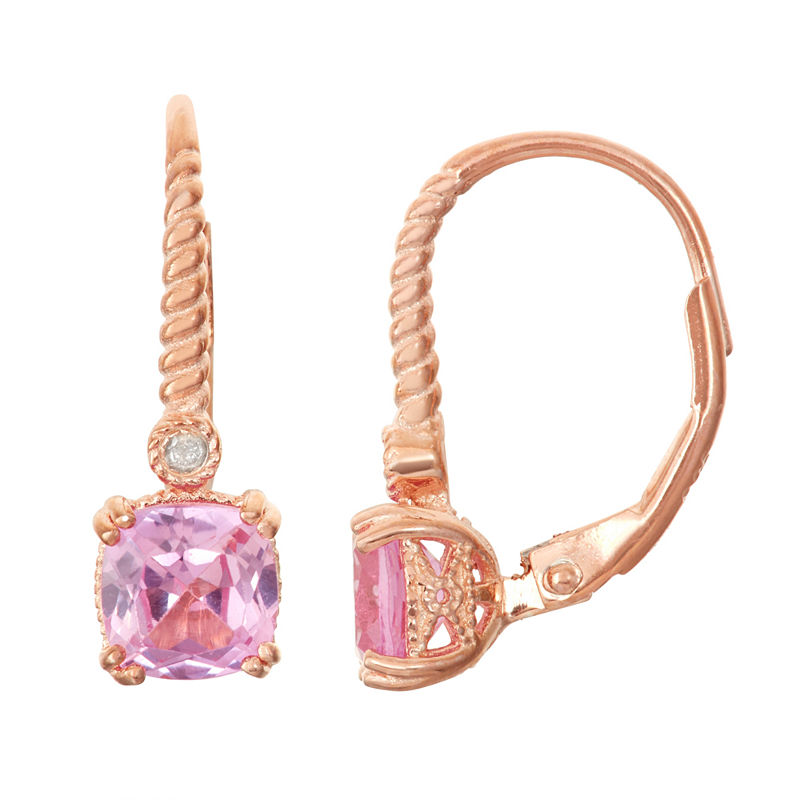 Lab-Created Pink Sapphire Diamond Accent 14K Rose Gold Over Silver Leverback Earrings