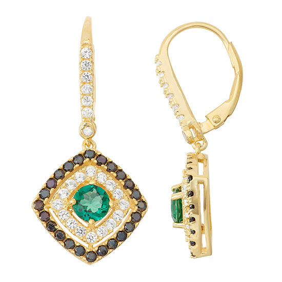 Lab-Created Emerald & Black Spinel Diamond Accent 14K Gold Over Silver Leverback Earrings