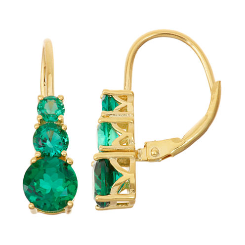Lab-Created Emerald 14K Gold Over Silver Leverback Earrings