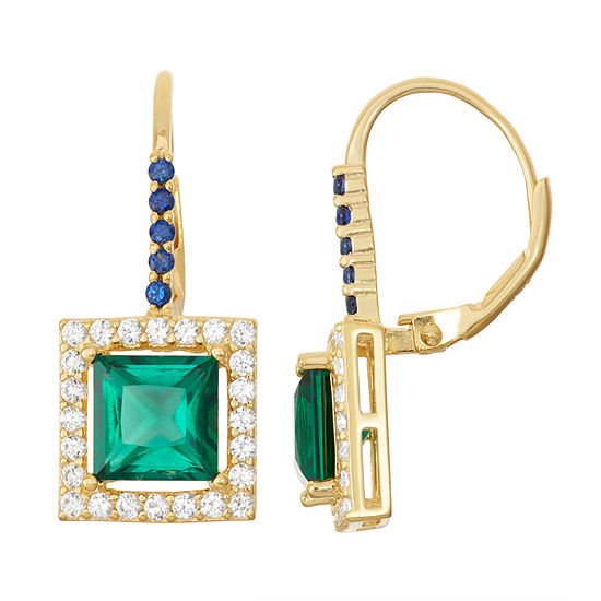 Lab Created Emerald Sapphire 14k Gold Over Silver Leverback Earrings