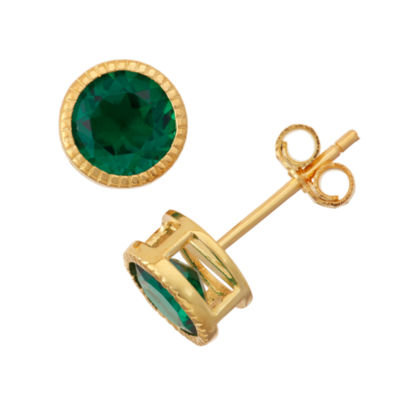 Lab-Created Emerald 14K Gold Over Silver Stud Earrings