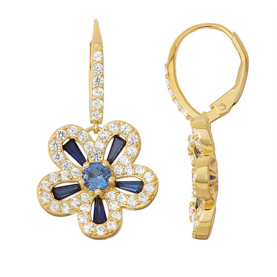 Lab-Created Sapphire & White Sapphire 14K Gold Over Silver Leverback Earrings