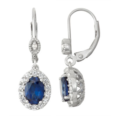 Lab-Created Sapphire & White Sapphire Diamond Accent Sterling Silver Leverback Earrings