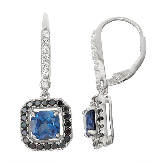 Lab-Created Sapphire & Genuine Black Spinel Diamond Accent Sterling Silver Leverback Earrings