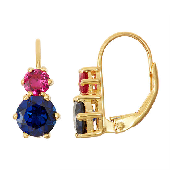 Lab-Created Ruby & Blue Sapphire 14K Gold Over Silver Leverback Earrings