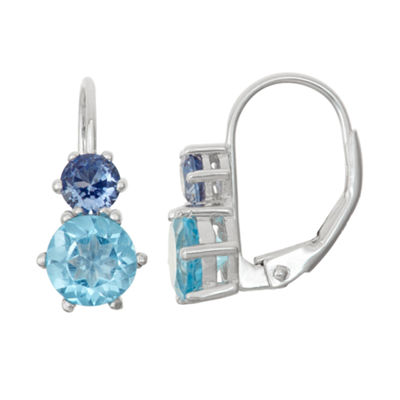 Lab-Created Sapphire & Genuine Swiss Blue Topaz Sterling Silver Leverback Earrings