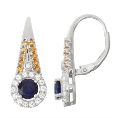 Lab-Created Sapphire & Genuine Citrine Sterling Silver Diamond Accent Leverback Earrings